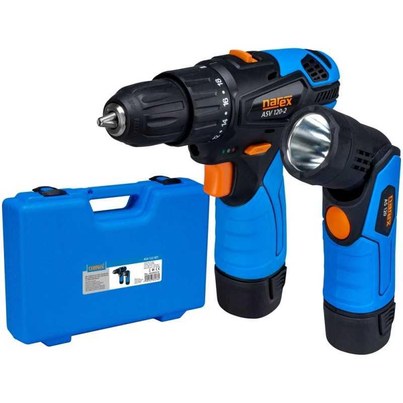 Set 12 V e-POWER vrtací šroubovák a 12 V e-POWER svítilna Narex